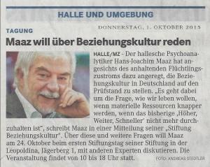 Pressemeldung Mitteldeutsche Zeitung, 1. Oktober 2015